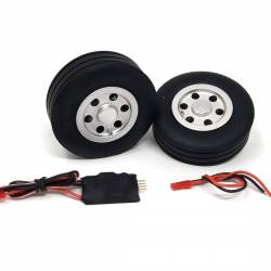 JP Hobby Electric Brake with 2x 75mm Wheels - Wide tyre 25mm (4mm axle)